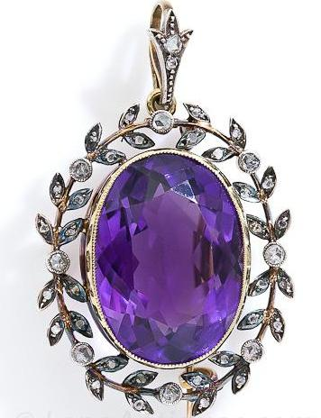 Amethyst_and_Rose_Cut_Diamond_Brooch_Pendant